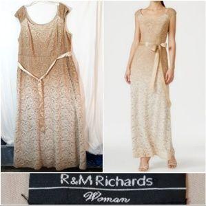 R & M Richard's Gold Ombré Floral Lace Gown